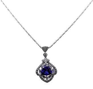 3.47 ctw Tanzanite and Diamond Pendant With Chain -