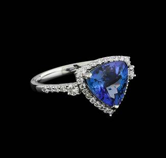 3.60 ctw Tanzanite and Diamond Ring - Platinum