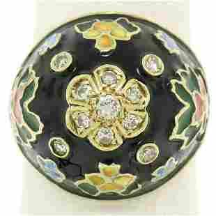 14K Yellow Gold Diamond Black Blue Green Yellow Enamel