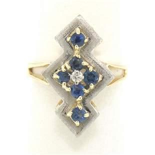 Vintage 14k Two Tone Gold .73 ctw Sapphire Diamond