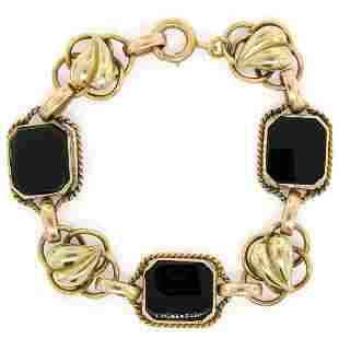 Retro Vintage 14kt Green and Rose Gold Black Onyx and