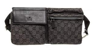 Gucci Black Gray GG Canvas Leather Trim Waist Bag