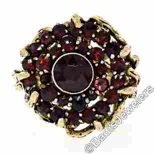 Vintage 14kt Yellow Gold and Silver Top Old Cut Garnet