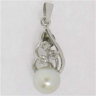 14K White Gold 6.9mm Pearl w/ 3 Diamond Accents Petite