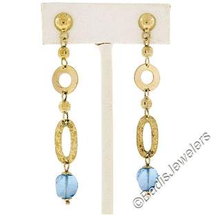 14kt Yellow Gold Briolette Cut Blue Topaz Bead Long
