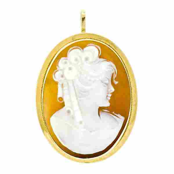 Antique 18kt Yellow Gold Carved Shell Cameo Twisted
