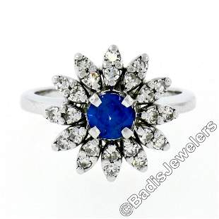 Vintage 14kt White Gold 0.90 ctw Round Sapphire and
