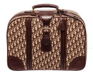 Christian Dior Brown Canvas Luggage Travel Bag