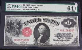 7: 1917 $1,00 Legal Tender Note PMG 64 AW1