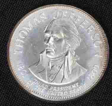 1241: Thomas Jefferson 33.1gm. Sterling Silver Presiden