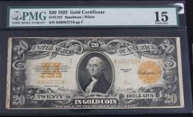 130: 1922 $20 Gold Cert. PMG 15 AW7