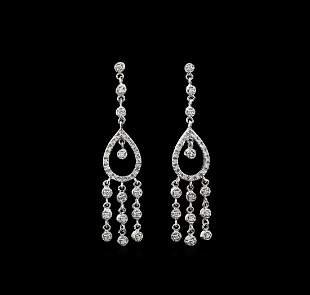 1.15 ctw Diamond Earrings - 18KT White Gold