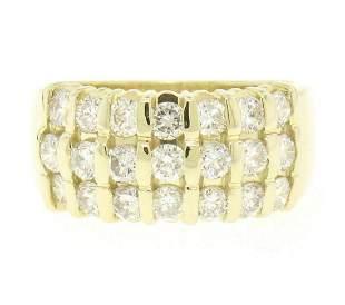 14kt Yellow Gold 1.48 ctw Bar Set Round Diamond Wide