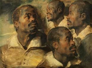 Sir Peter Paul Rubens - Four Studies of a Head of a
