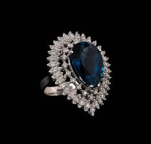 14KT White Gold 14.73 ctw Topaz and Diamond Ring