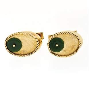 Vintage Men's 14K Yellow Gold Jade Disc Oval Florentine