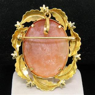 Vintage 18k Two Tone Gold Carved Shell Cameo Open Work