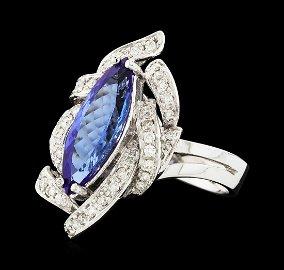 2.29 ctw Tanzanite and Diamond Ring - 14KT White Gold