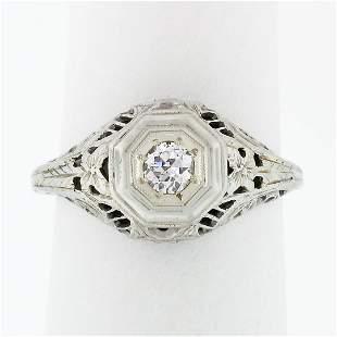 Antique Art Deco 18k White Gold .21 ctw Diamond