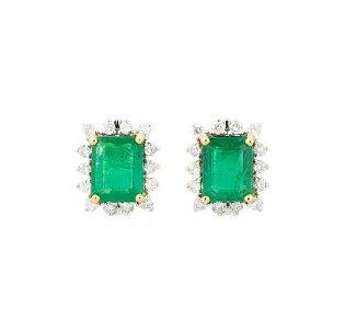 4.18 ctw Emerald and Diamond Earrings - 18KT Yellow