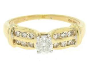 14k Yellow Gold 0.30 ctw Round Diamond & Dual Row