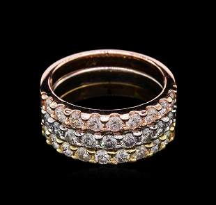 1.65 ctw Diamond Stackable Rings - 14KT Tri-Color Gold