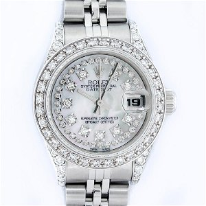 Rolex Ladies Stainless Steel Quickset Mother Of Pearl