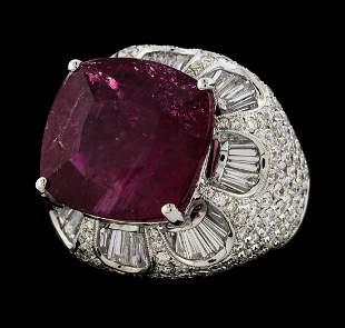 17.68 ctw Pink Tourmaline and Diamond Ring - 18KT White