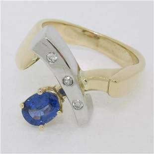 Two Tone 14K Gold 0.98 ctw QUALITY Sapphire Solitaire
