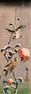 Hiroshige Sparrows and Camelias with Snow