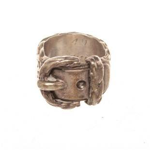 Hermes Silver Belt Ring