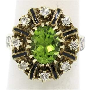 Vintage 14K Yellow Gold 2.43 ctw Oval Peridot Diamond &