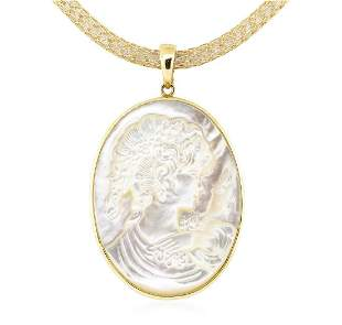 Mother of Pearl Cameo Pendant and Chain - 14KT Yellow