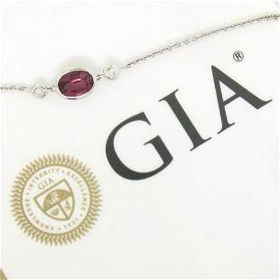 New 18kt White Gold 1.13 ctw GIA Pink Sapphire and