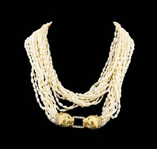 14KT Yellow Gold Pearl and Diamond Necklace