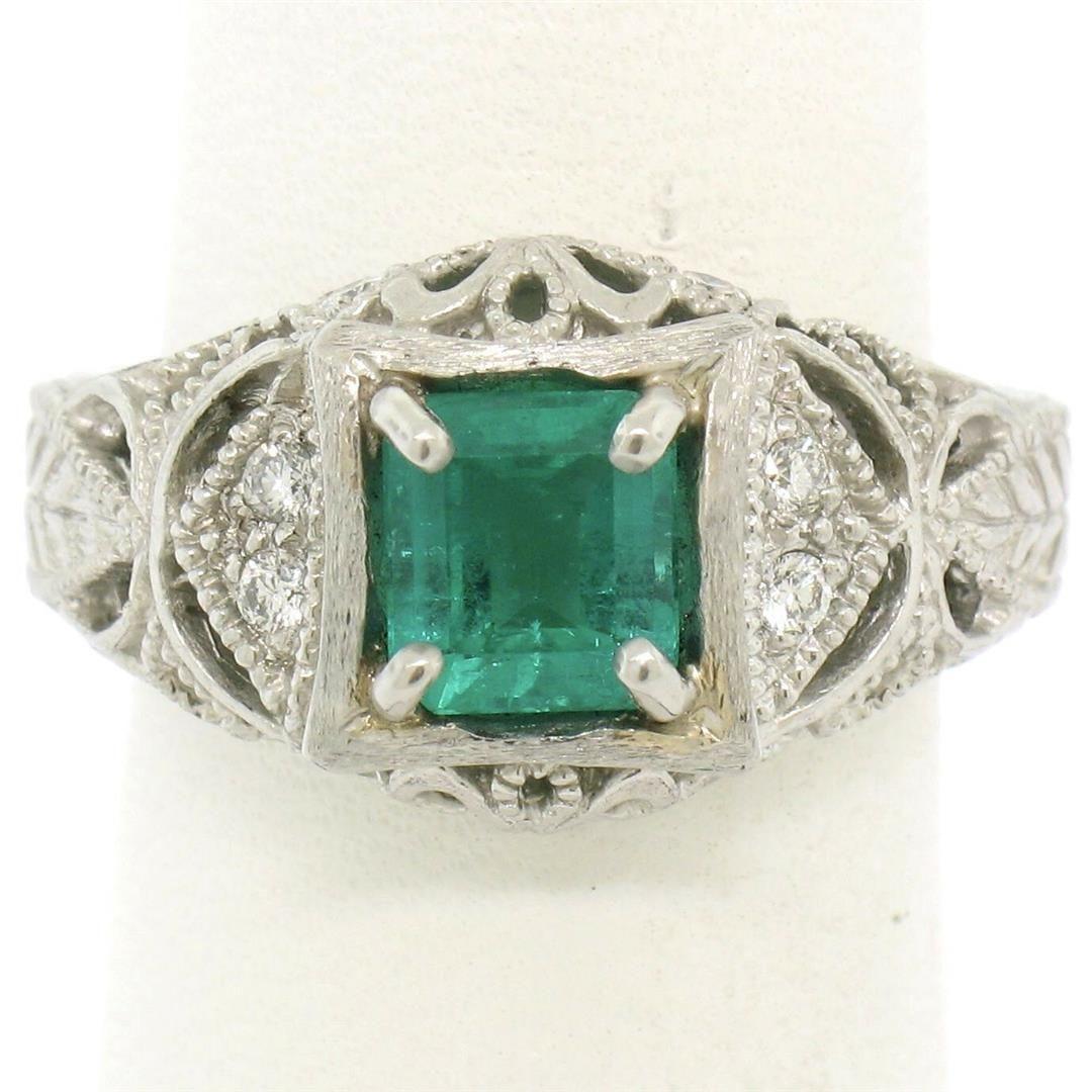 Platinum 1.04 ctw Radiant Emerald & Diamond Milgrain