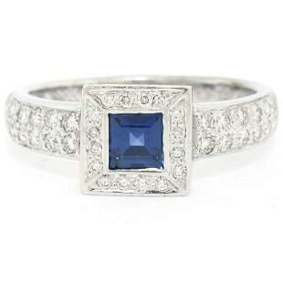New Platinum Sapphire and Diamond Engagement Ring