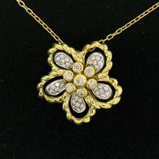 18k Yellow and White Gold 1.22 ctw Diamond Cluster