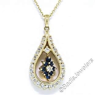 14kt Yellow Gold 1.22 ctw Diamond and Sapphire Tear