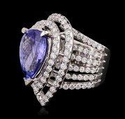 18KT White Gold 6.53 ctw Tanzanite and Diamond Ring