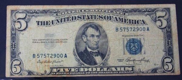 3: 1953 $5.00 Lincoln Silver Certificate PM436