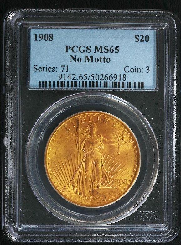 5A: 1908 Saint Gaudens $20 Gold Coin PCGS MS65 GCE50