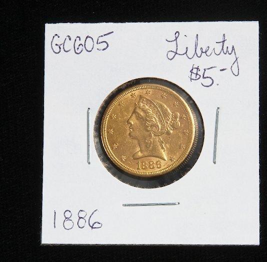 8A: 1886 Liberty Head $5.00 Gold Coin GC605
