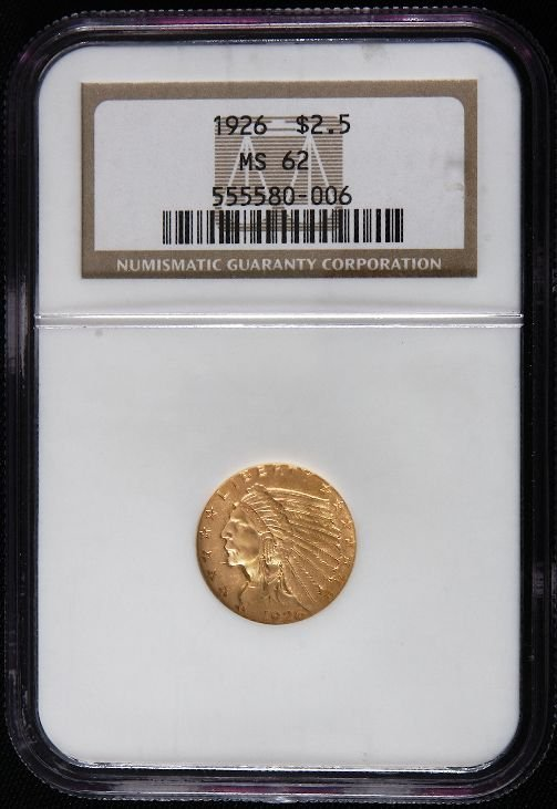 11A: 1926 Indian Head $2.50 NGC MS62 GCE57 Gold Coin