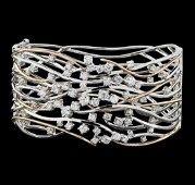 1.45 ctw Diamond Bangle Bracelet - 14KT Rose and White