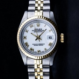 Rolex Ladies 2 Tone Yellow Gold & Stainless Steel White