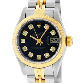 Rolex Ladies 2 Tone Black Diamond 26MM Datejust