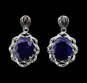 14.2 ctw Sapphire and Diamond Earrings - 14KT White