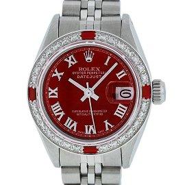 Rolex Ladies Stainless Steel Red Diamond & Ruby 26MM