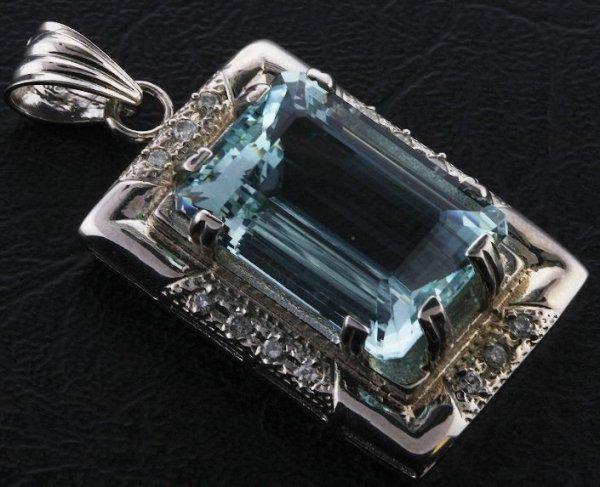 1: Aquamarine & Diamond Pendant 27.63ct. A119 FULL APPR